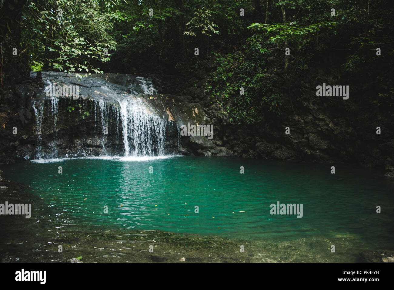 The final natural pool in the Seven Altars (Siete Altares), a tourist attraction in Livingston, Guatemala Stock Photo