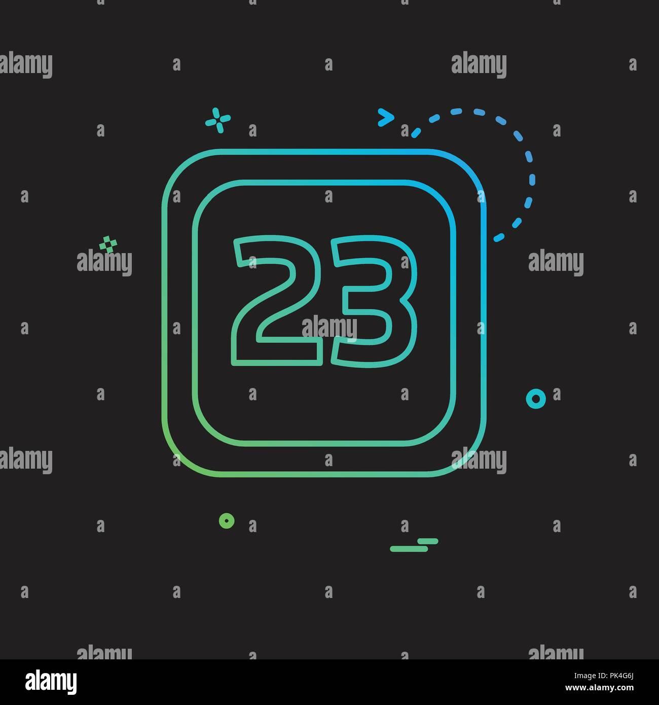 23 Date Calender icon design vector - Stock Vector