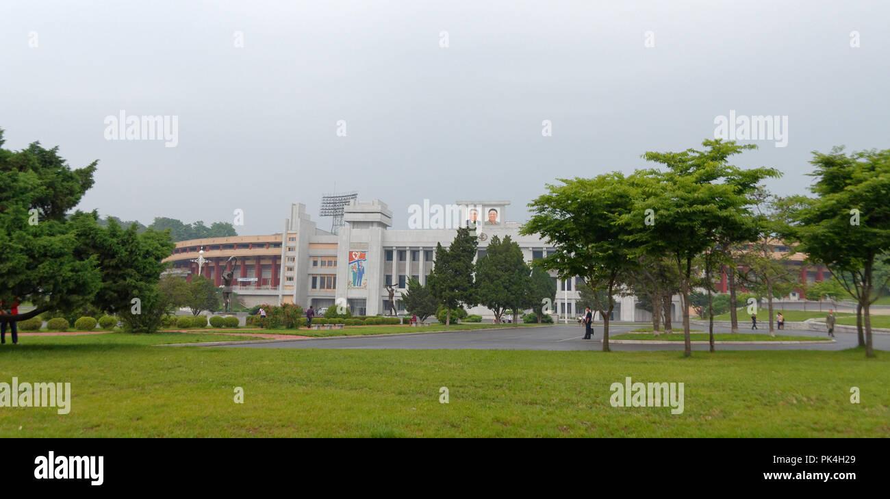 The Kim Il Sung Stadium, formally Girimri Stadium, Kaeson Youth Park, Pyongyang - Stock Image