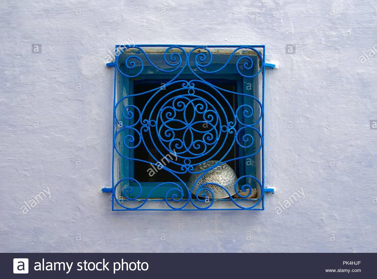DECORATIVE WINDOW PROTECTION, HAMMAMET, TUNISIA - Stock Image