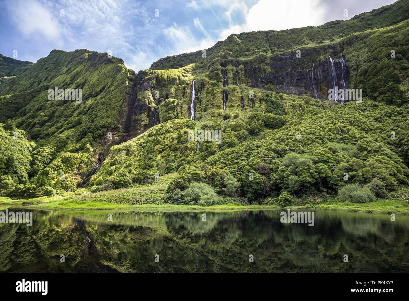Poco da Ribeira do Ferreiro, Flores island, Azores, Portugal. Stock Photo