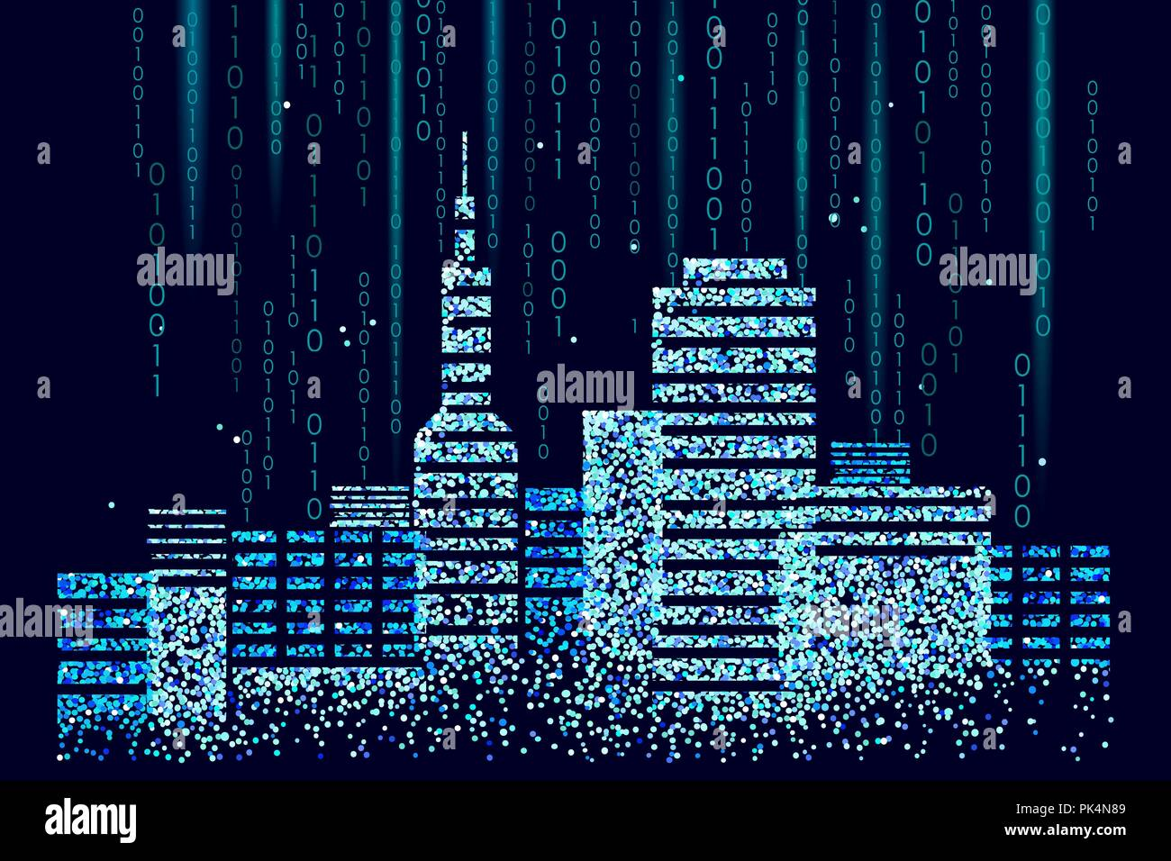 Smart city 3D spotted dots. Intelligent building automation system business concept. Web online computer binary code. Architecture urban cityscape technology sketch banner vector illustration - Stock Vector