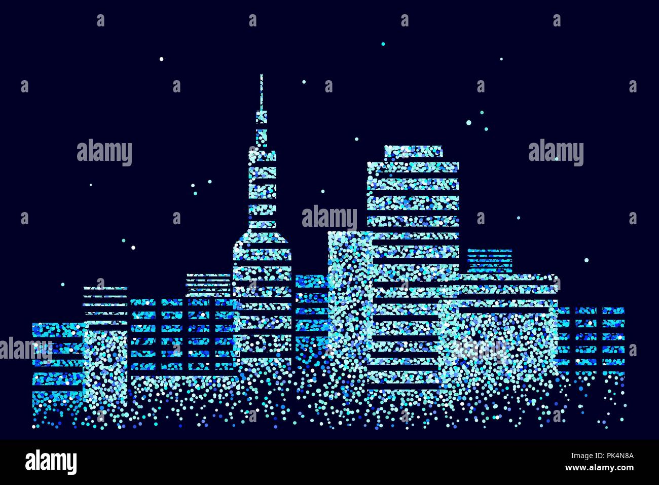 Smart city 3D spotted dots. Intelligent building automation system business concept. Web online computer binary code. Architecture urban cityscape technology sketch banner vector illustration - Stock Image