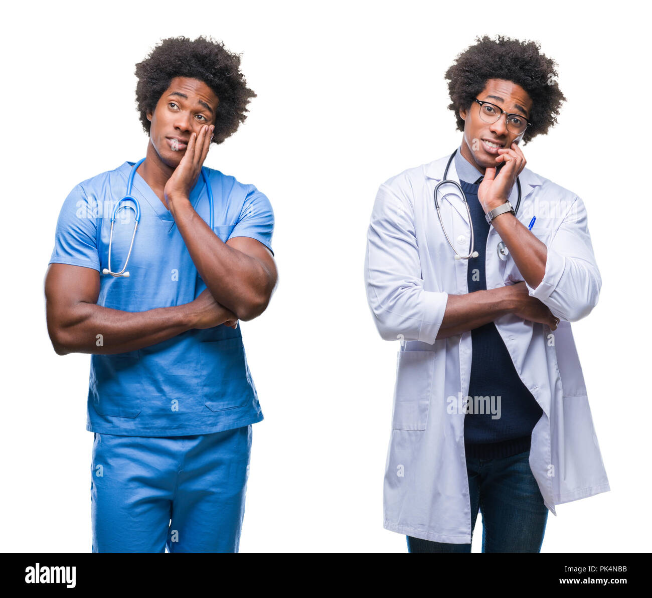 Collage of african american young surgeon, nurse, doctor man over isolated background thinking looking tired and bored with depression problems with c Stock Photo