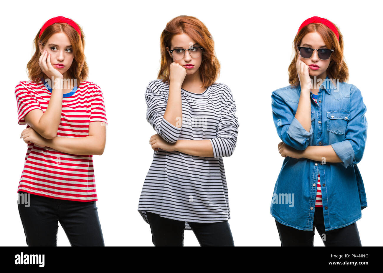 Collage of young beautiful redhead woman over isolated background thinking looking tired and bored with depression problems with crossed arms. Stock Photo