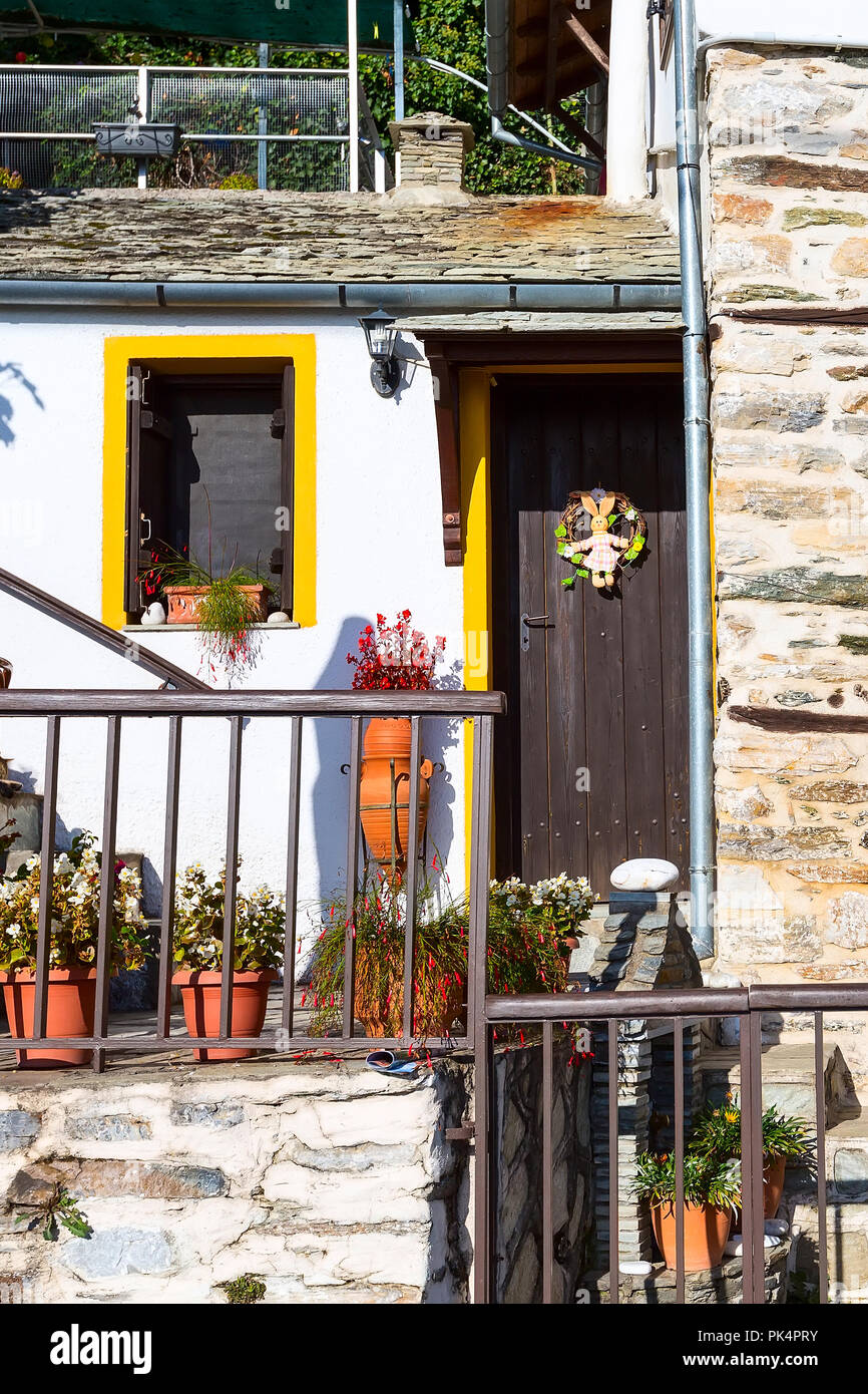 Easter Decorations On Typical Greek Rural House Wall View At