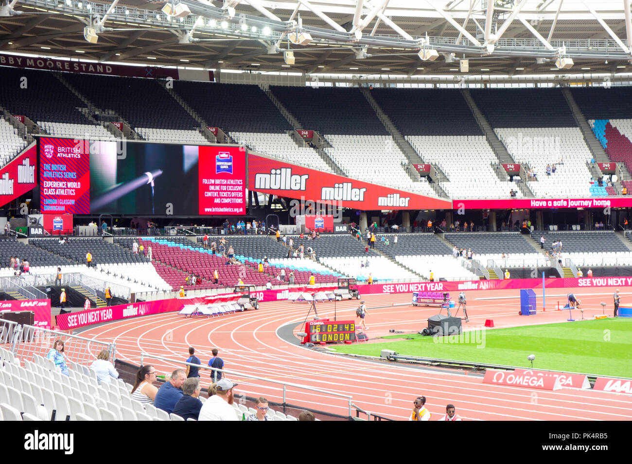 London Stadium, home of West Ham united football club and UK Athletics in the Queen Elizabeth Olympic Park. London, UK. - Stock Image