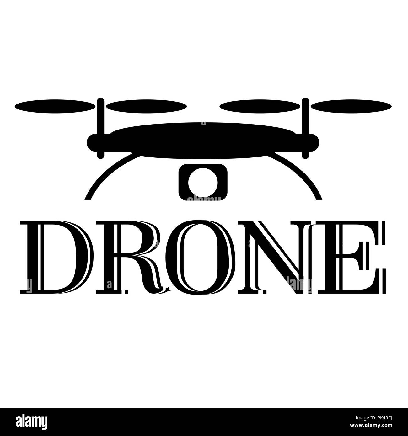 Drone icon or logo on a white background, vector illustration - Stock Image