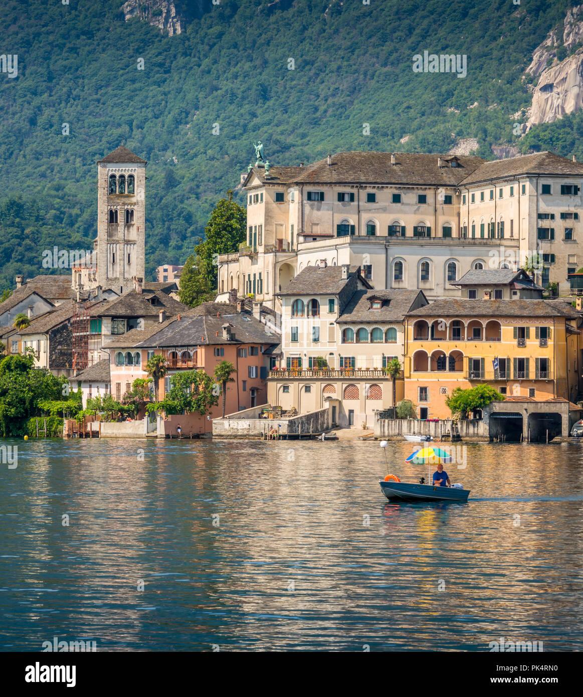 Scenic sight of San Giulio Island on Lake Orta, Piedmont, Italy. - Stock Image