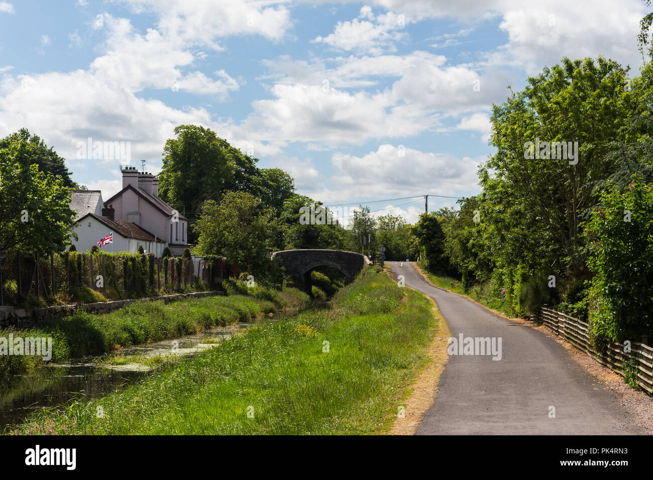 Newry Canal and towpath at Scarva, County Down, N.Ireland. - Stock Image