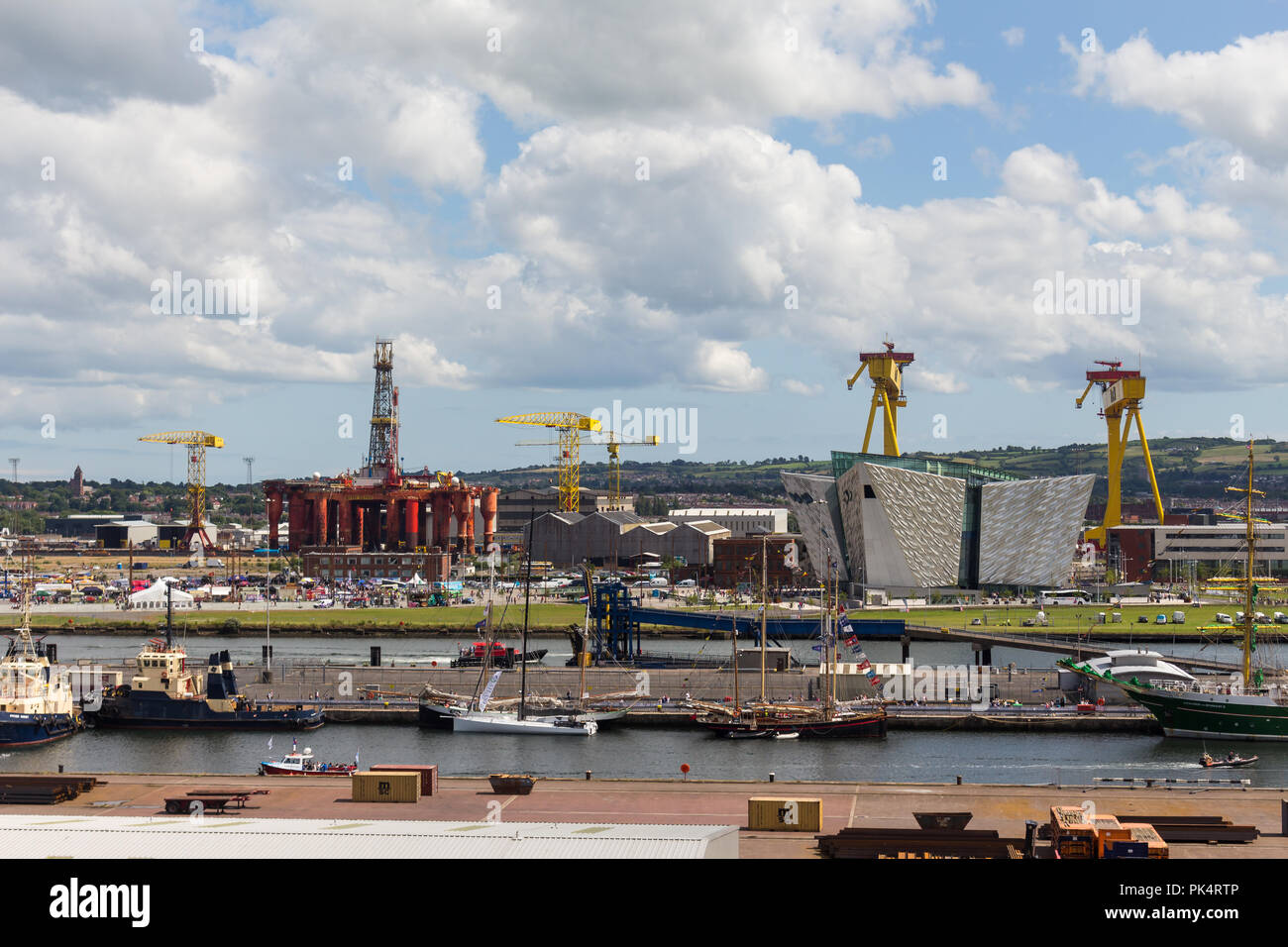 High level view of Belfast docks with Harland & Wolff shipbuilders cranes, Samson & Goliath, in view behind the Titanic Building. Belfast, N.Ireland. - Stock Image