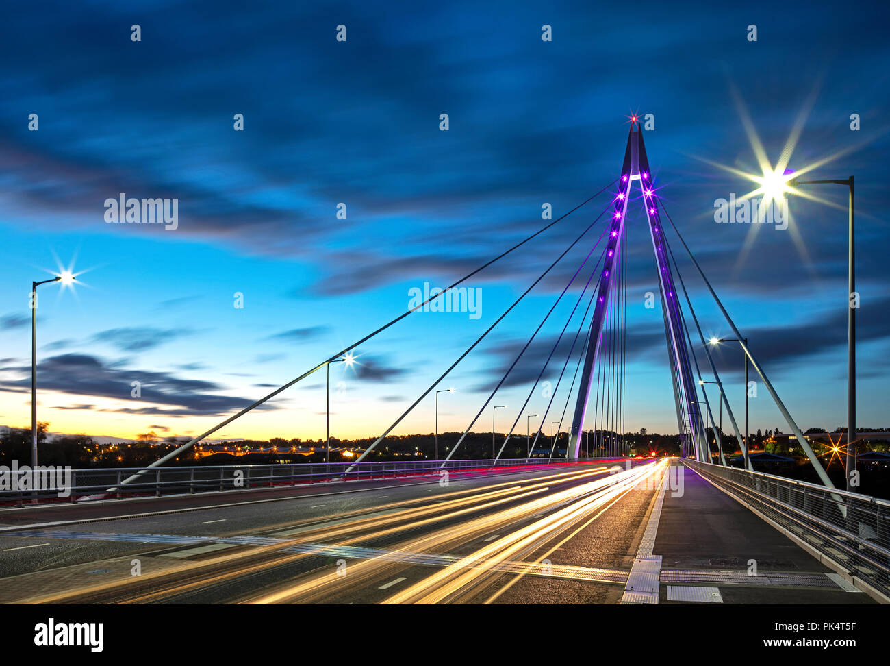 Northern Spire bridge at dusk, Sunderland, Tyne and Wear, United kingdom - Stock Image