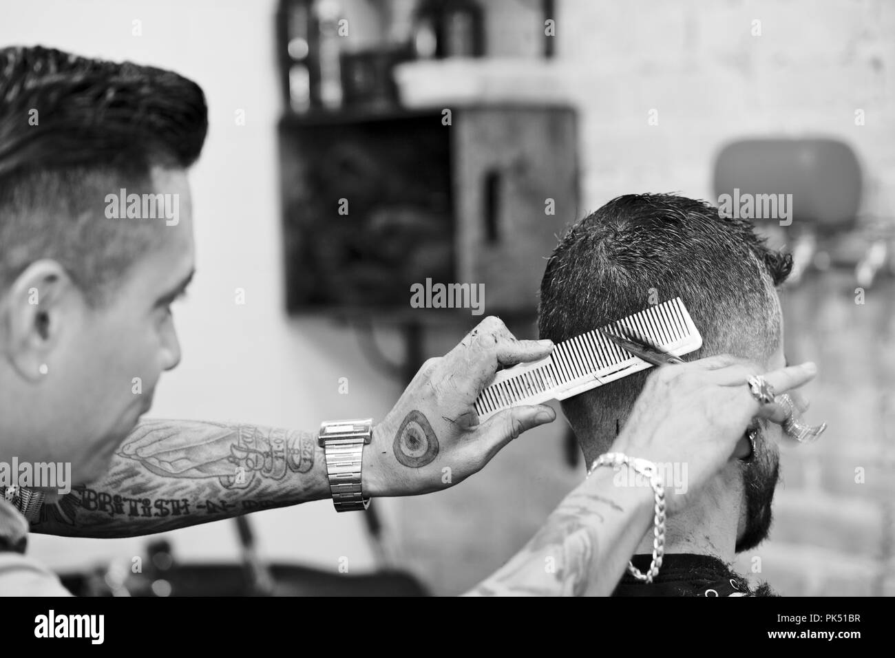 Barber Shop, blade and scissor work - Stock Image