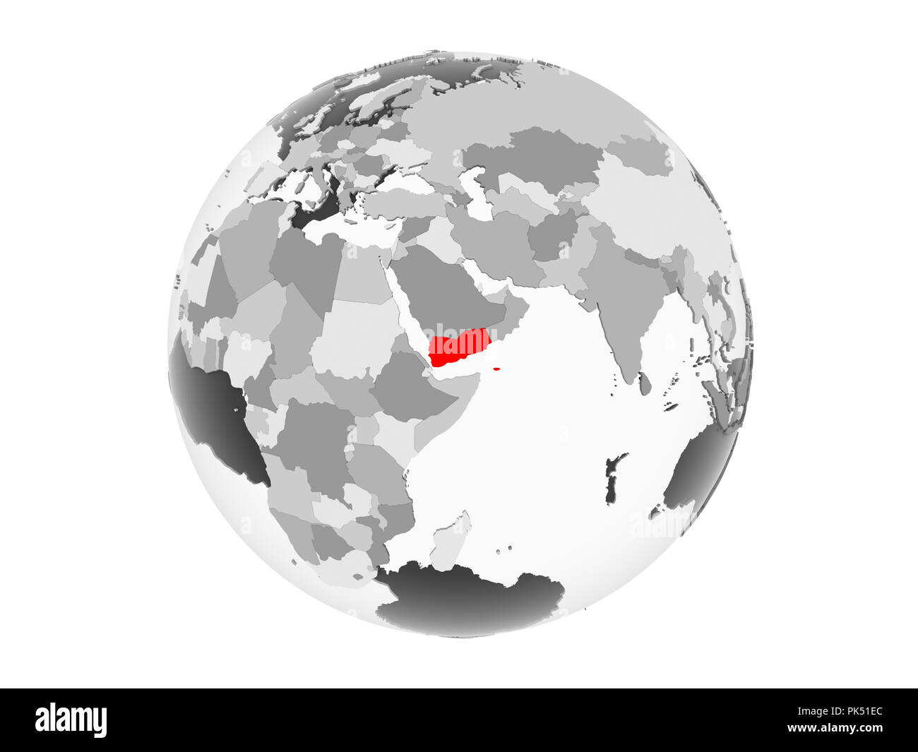 Yemen highlighted in red on grey political globe with transparent oceans. 3D illustration isolated on white background. - Stock Image
