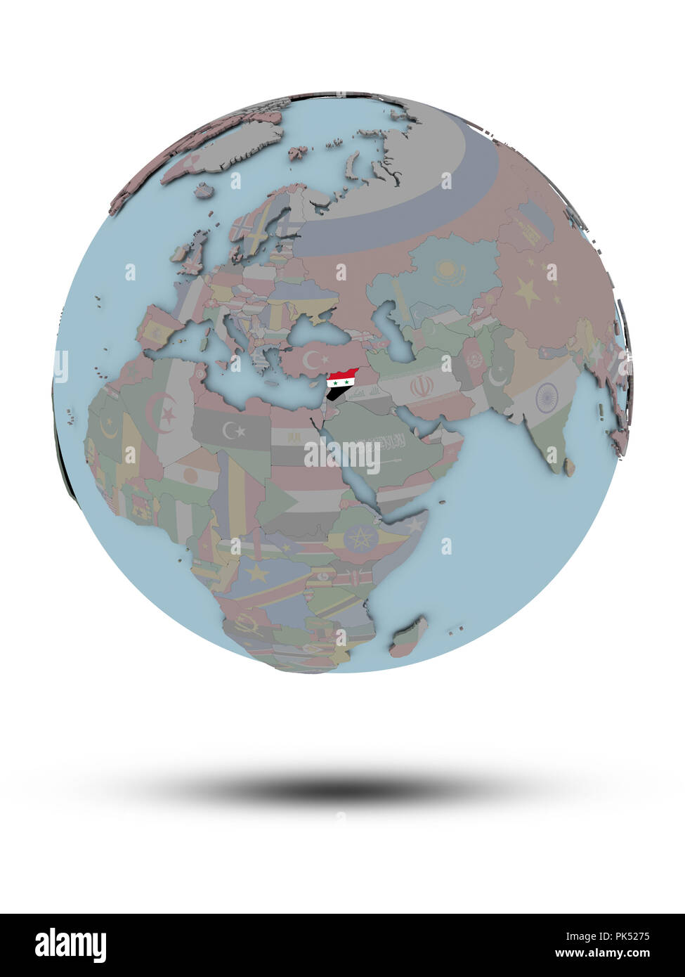 Syria with national flag on political globe with shadow isolated on white background. 3D illustration. - Stock Image