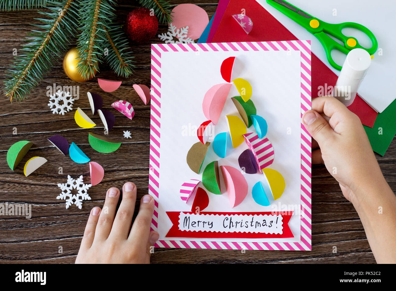 Christmas Tree Greeting Card Handmade Project Of Children S