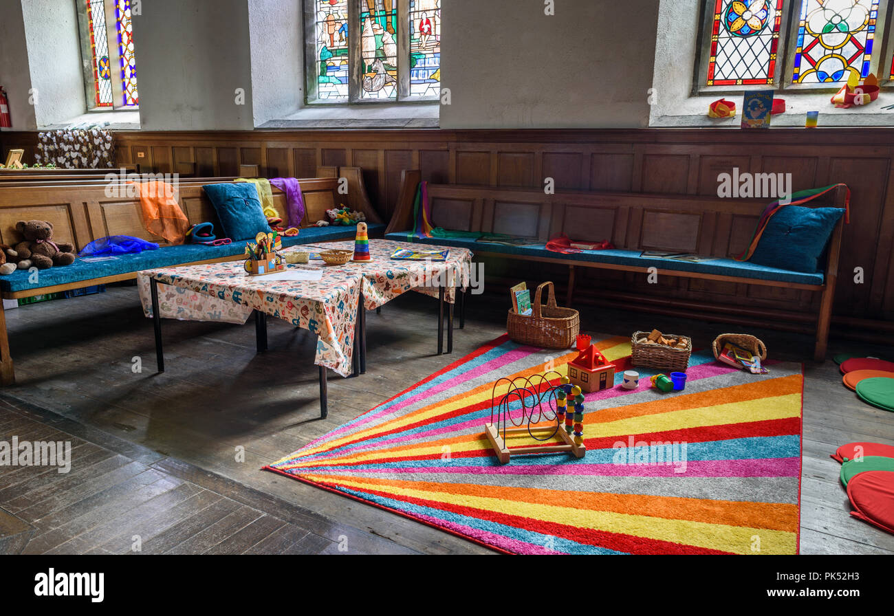 A sunday school area in a traditional English church. - Stock Image
