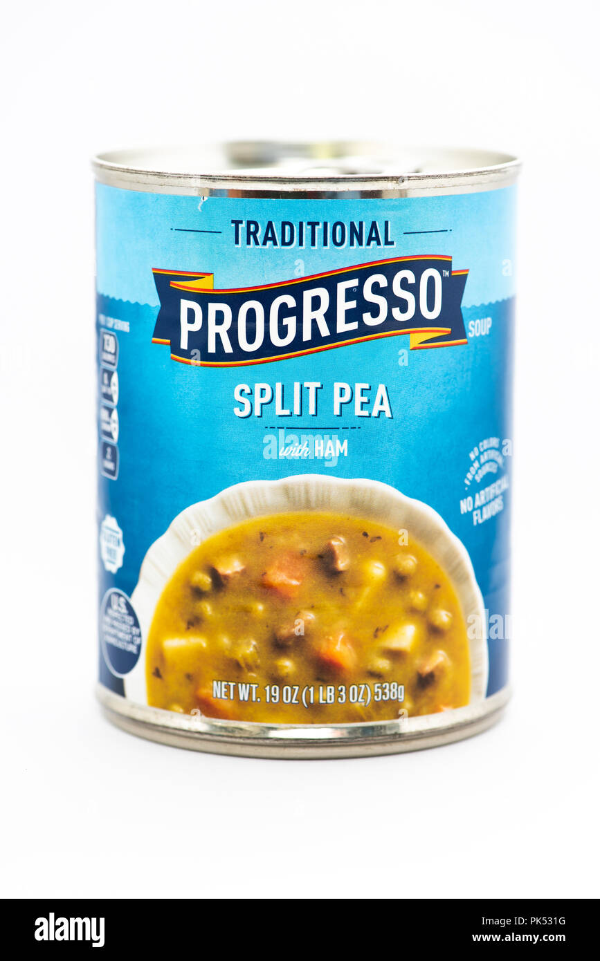 A can of Progresso Split Pea with Ham soup. - Stock Image