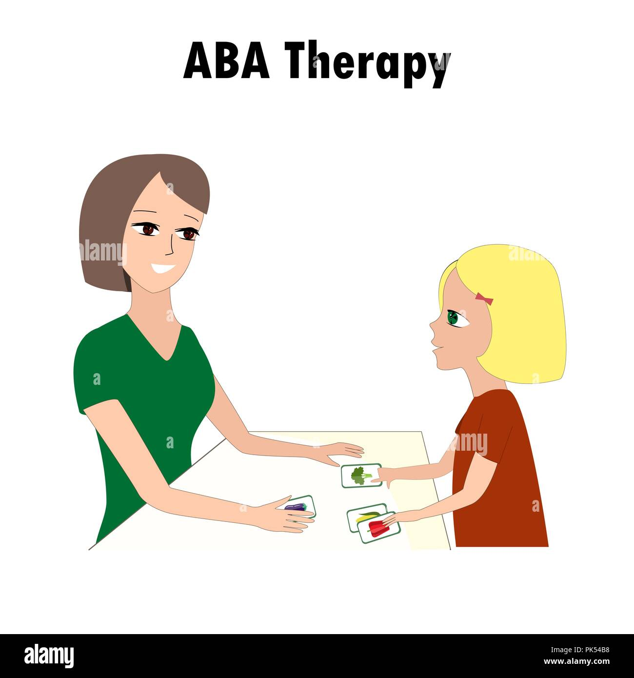 Woman and girl pointing ABA activities cards. One of autism treatment method. Little kid and instructor. Vector illustration - Stock Vector