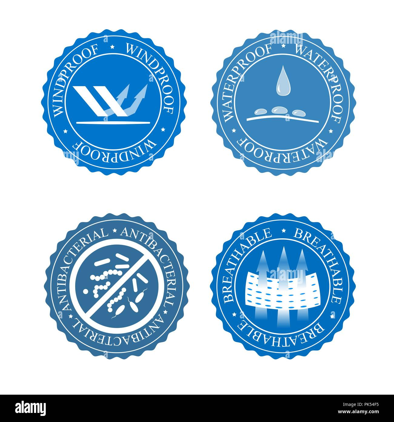 Vector icons set of fabric features. Wind proof, antibacterial, waterproof, and breathable wear labels. Textile industry pictogram for clothes line. - Stock Image