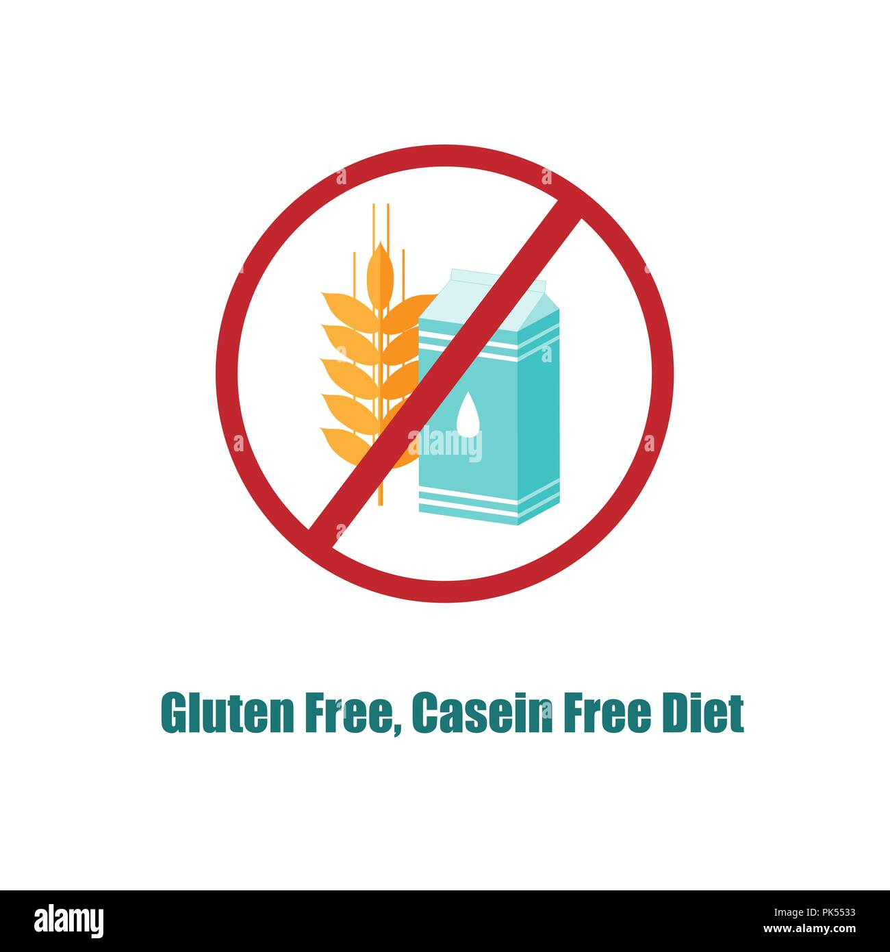 Gluten and Casein free icon or label  Crosed sign with pack of milk