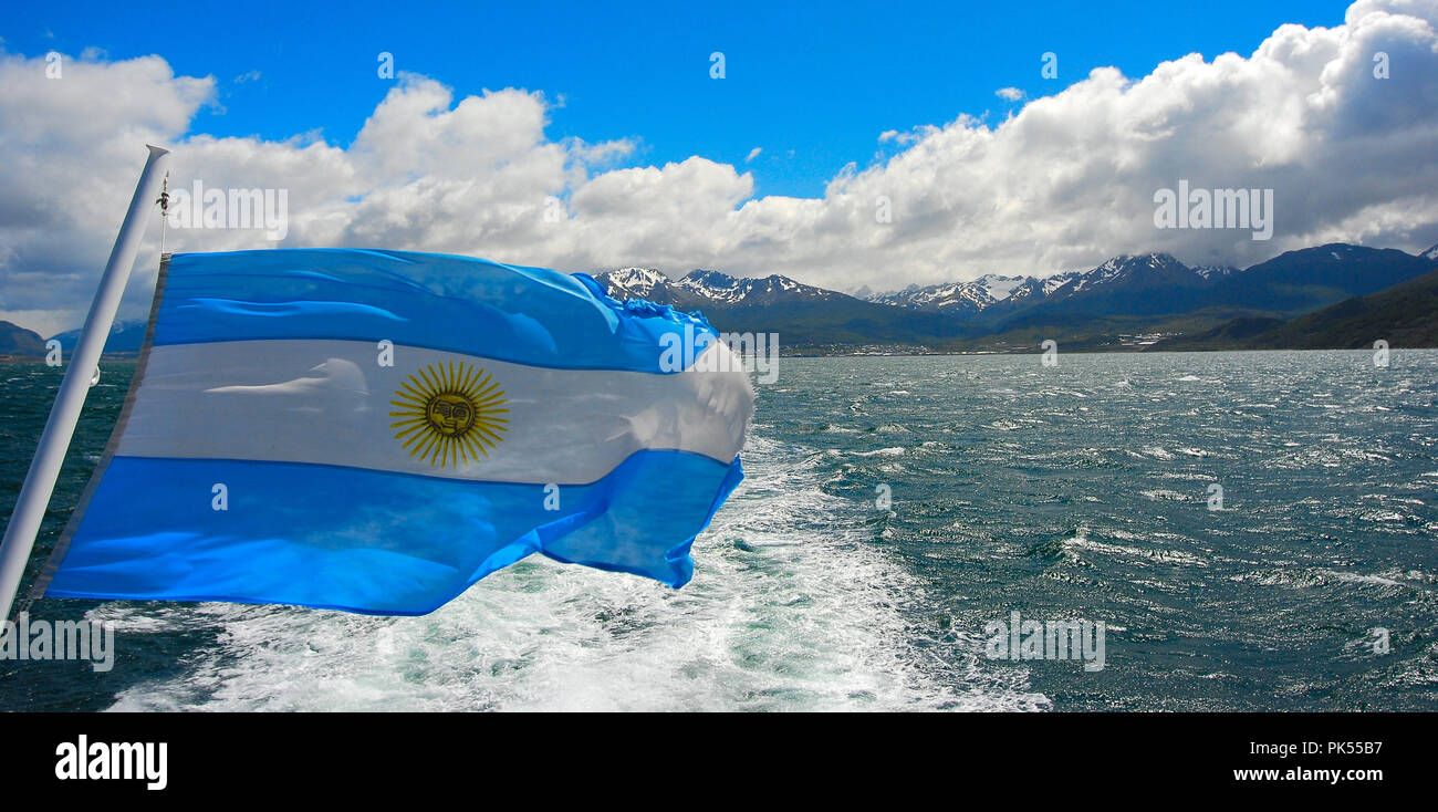Boat tour in Ushuaia Argentina - Stock Image