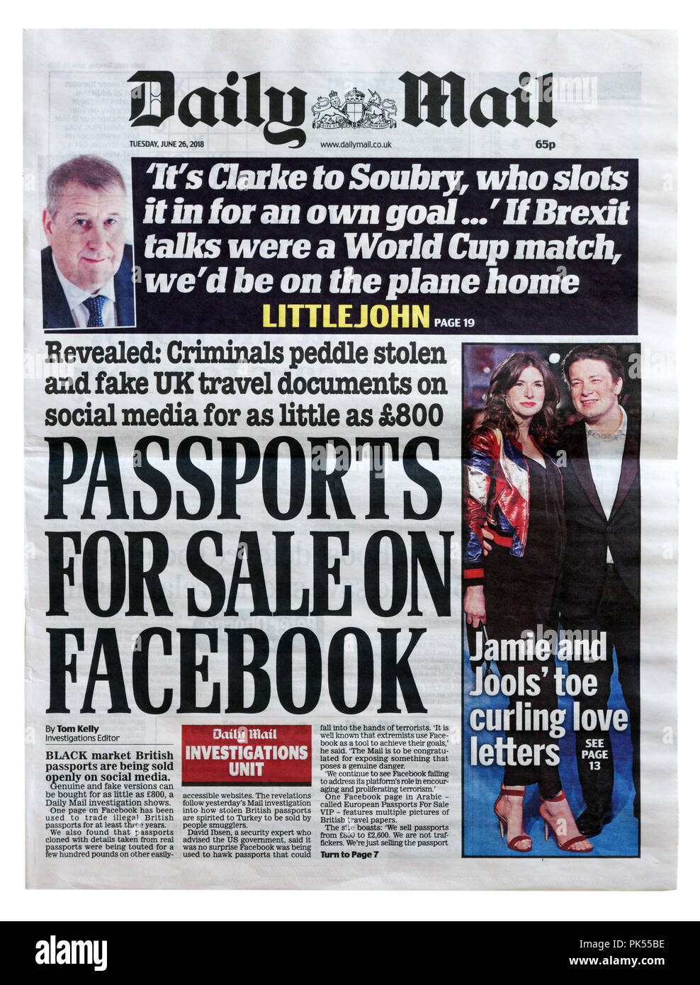 Front page of the Daily Mail with the headline Passports For Sale on Facebook, revealing the sale of stolen passports and ID on social media - Stock Image