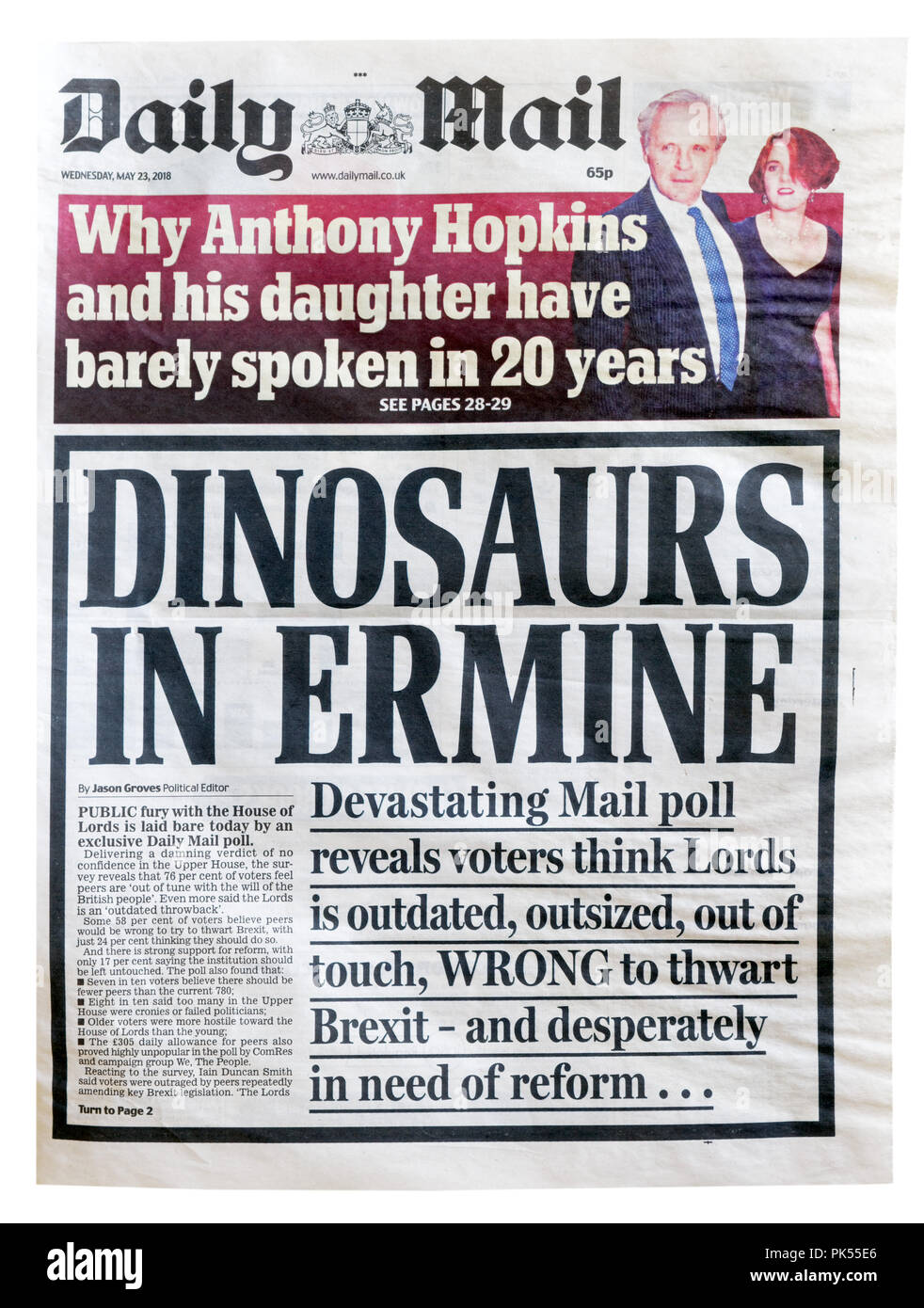 Front page of the Daily Mail with the headline Dinosaurs in Ermine, about the reform or abolishment of the House of Lords - Stock Image