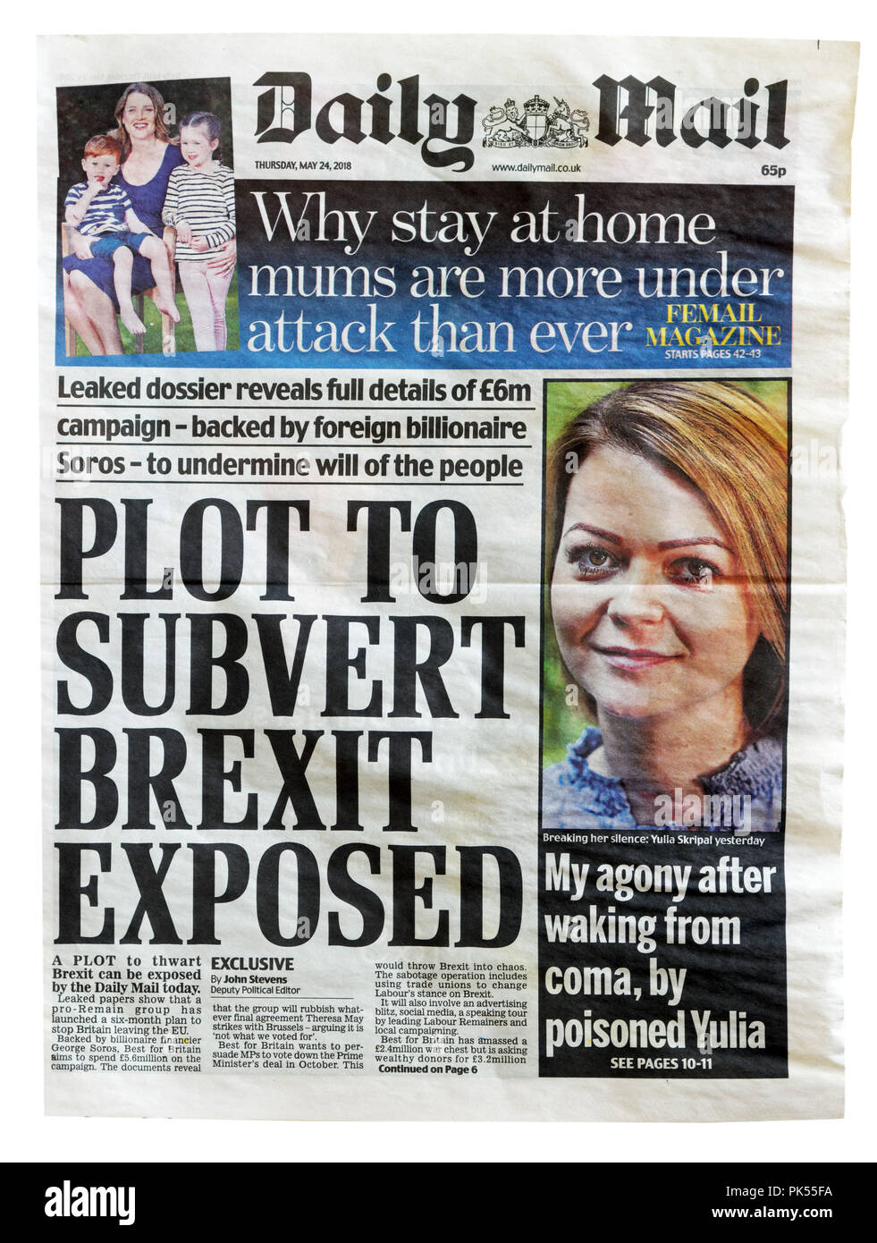 Front page of the Daily Mail with the headline Plot to Subvert Brexit Exposed, about attempts to stop Brexit and keep Britain in the EU - Stock Image