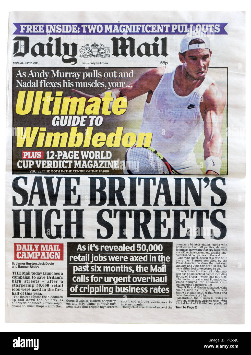 Front page of the Daily Mail with the headline Save Britain's High Streets, about the attempt to revive high street and town centre shopping - Stock Image