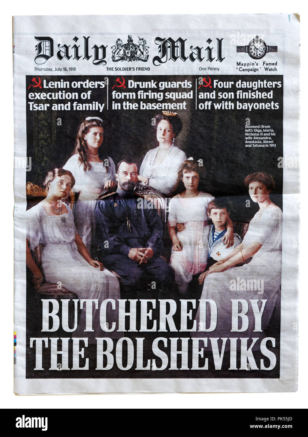 Front page of the Daily Mail with the headline Butchered by the Bolsheviks, to commemorate the anniversary of the execution of the Romanovs - Stock Image