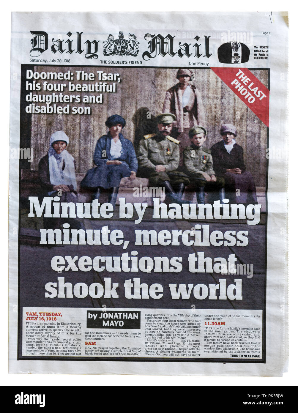 Front page of the Daily Mail to commemorate to 100th anniversary of the execution of the Romanovs in 1918. - Stock Image