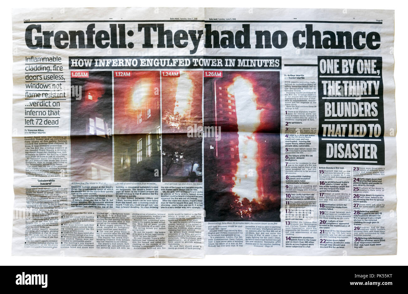 An article from the Daily Mail with the headline Grenfell: They Had No Chance, outlining the failures that led to the Grenfell Tower fire and loss of  - Stock Image