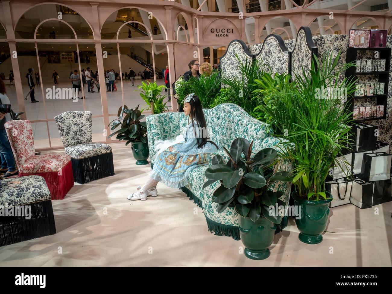 118ab55e2 Selfie furniture at a branding event for the fragrance Gucci Bloom Nettare  di Fiori attracts visitors
