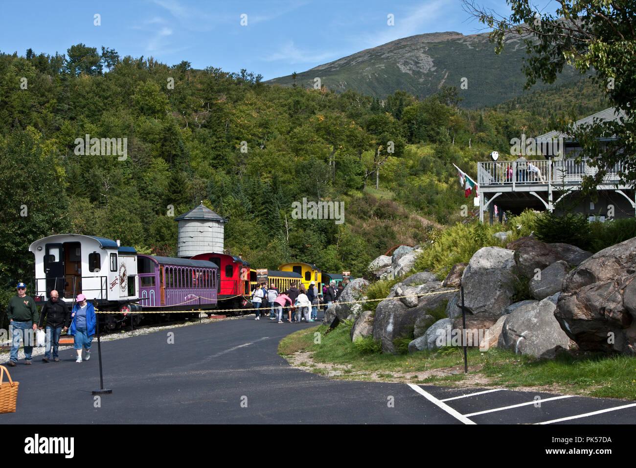 New Hampshire, Mount Washington Cog Railway, Bretton Woods, White Mountain National Forest, Mount Washington, - Stock Image