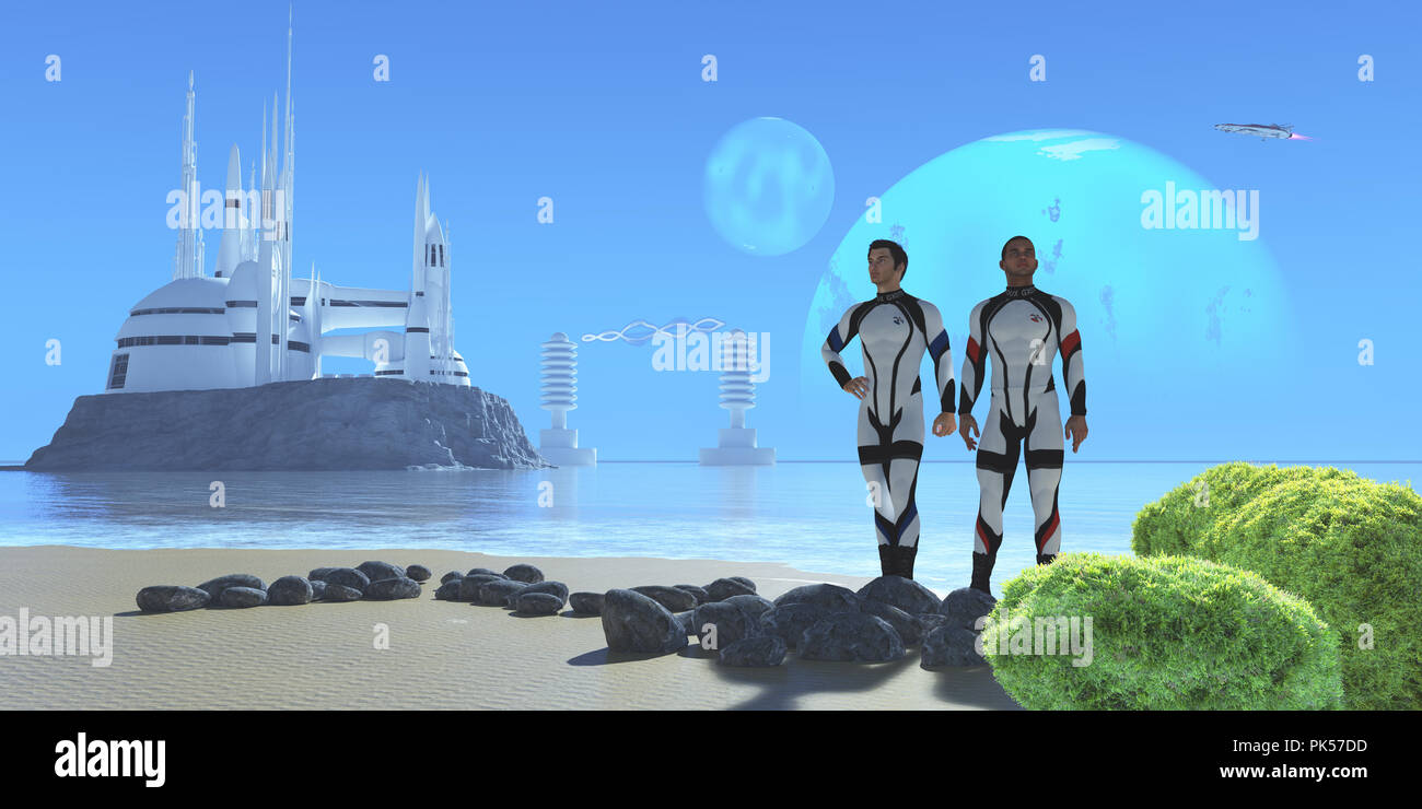 Blue Planet - Two men in military uniform visiting from Earth check out a shoreline in a world with two large moons and a modern colony. - Stock Image