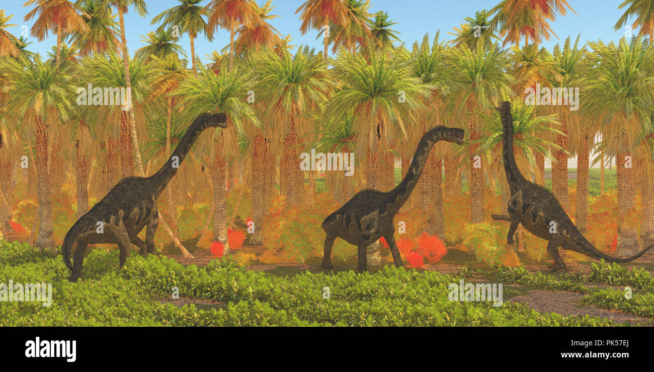 Europasaurus Dinosaurs - Europasaurus dinosaur herd munches their way through a jungle habitat in the Jurassic Period of Europe. - Stock Image