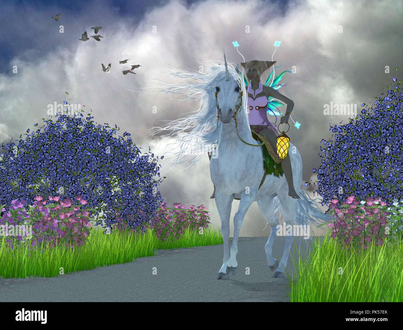 Fairy Lila with Unicorn - A fairy dressed in pink lavender rides a magical white unicorn through a foest of Jacaranda trees. - Stock Image