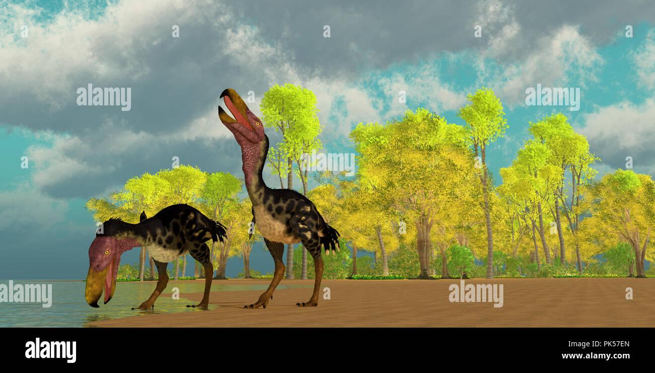 Miocene Kelenken Birds - Two Kelenken 'Terror Birds' come down to a lake to drink in the Miocene Period of Argentina, South America. - Stock Image
