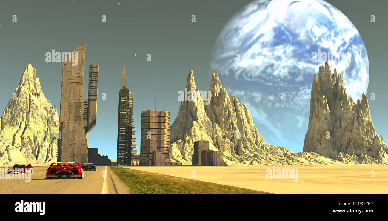 Pillars of the Moon - Earth looms large in the sky of this colony of skyscrapers in the future development of our moon. - Stock Image