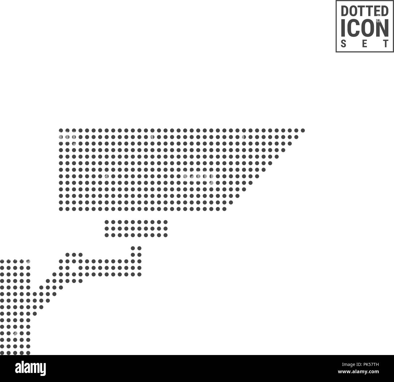 Surveillance Camera Dot Pattern Icon. Security, Observation Camera Dotted Icon Isolated on White. Vector Background, Design Template. Can Be Used for Advertising, Web and Mobile UI. Stock Vector