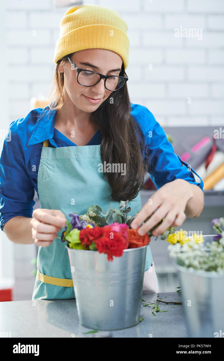 Creative Florist at Work - Stock Image