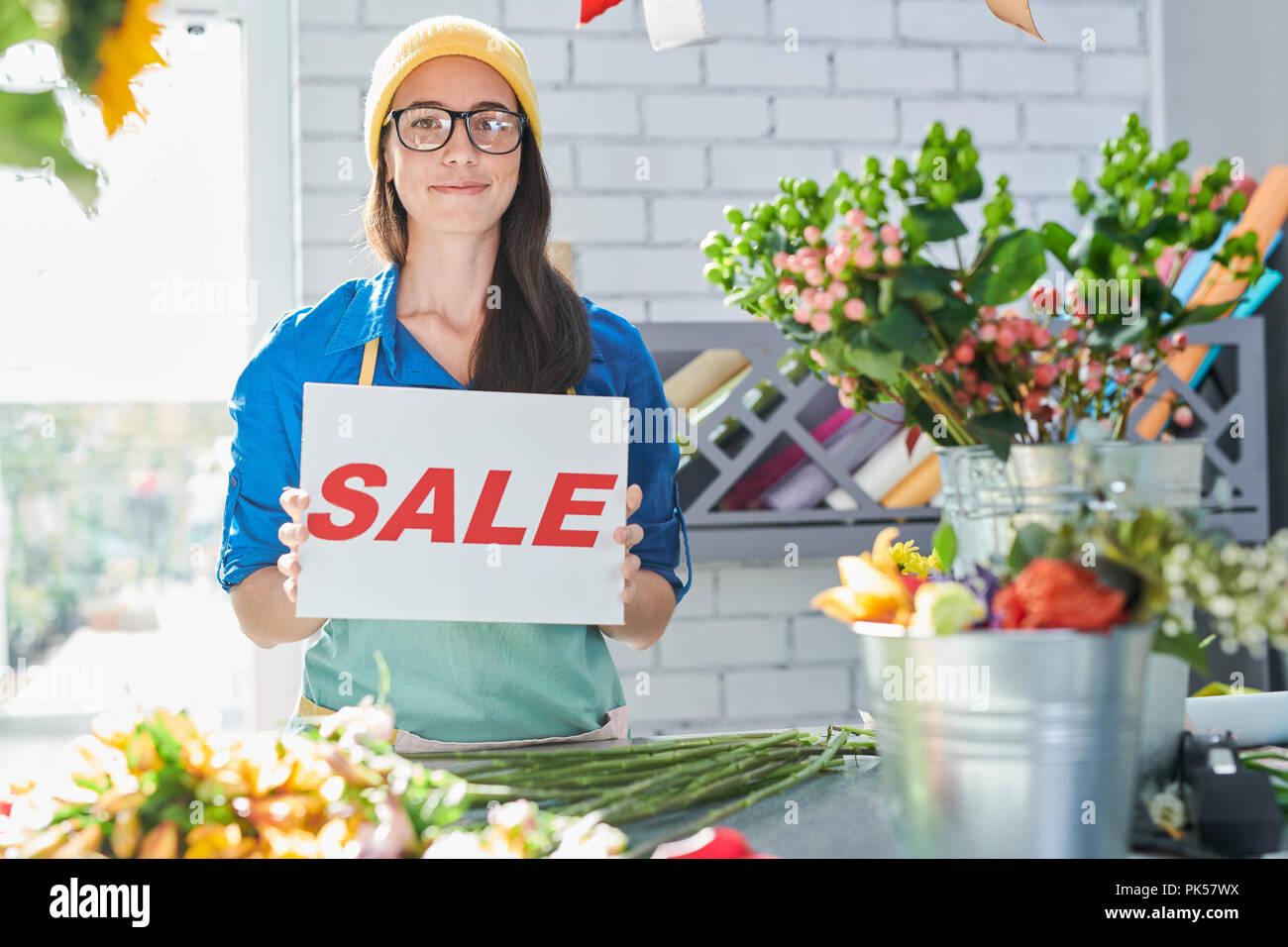 Flower Shop Sale Announcement - Stock Image
