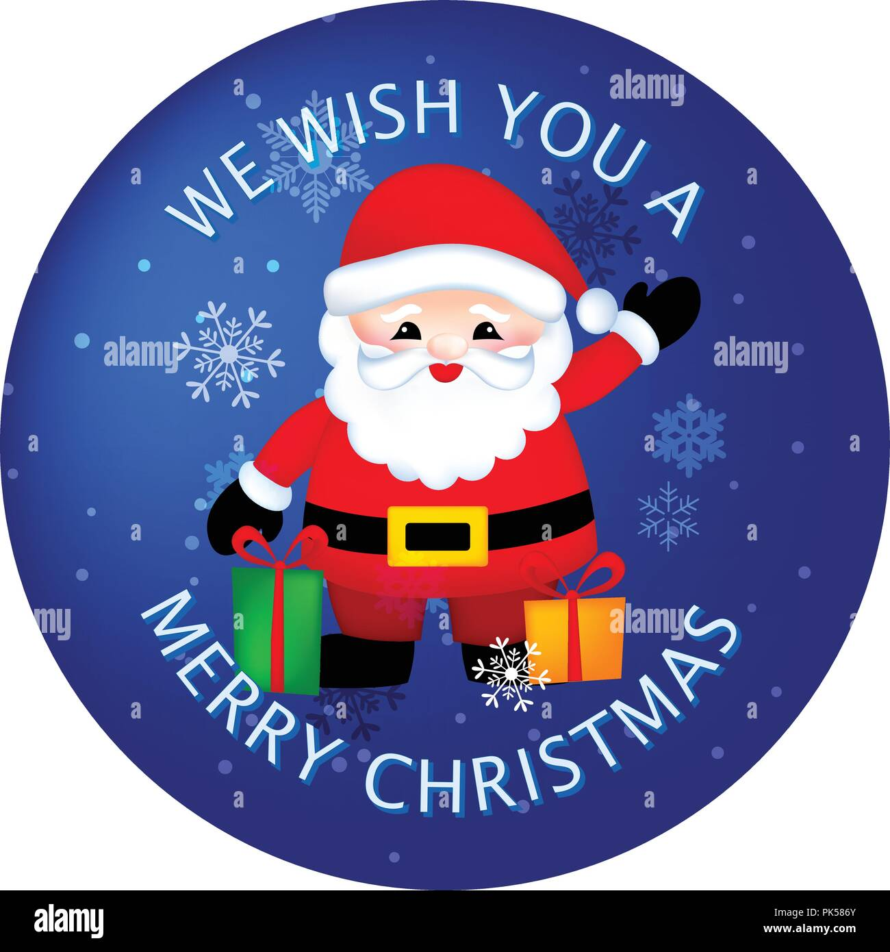 Christmas sticker / button with cute santa claus / Santa claus with ...