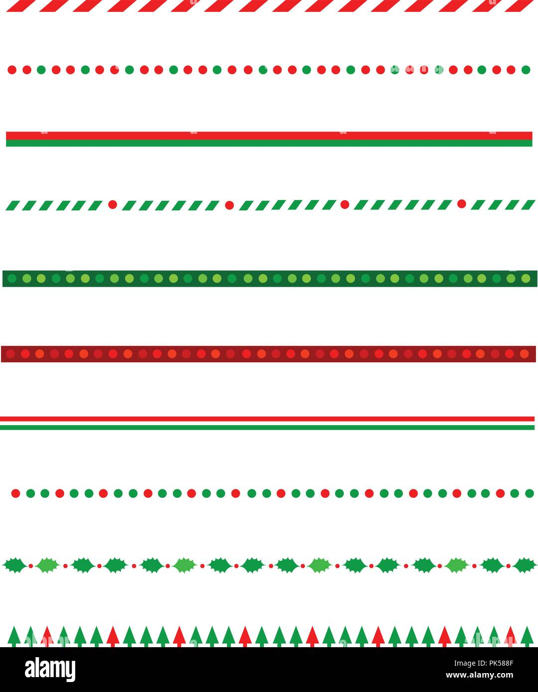 collection of simple christmas themed borders divider graphics