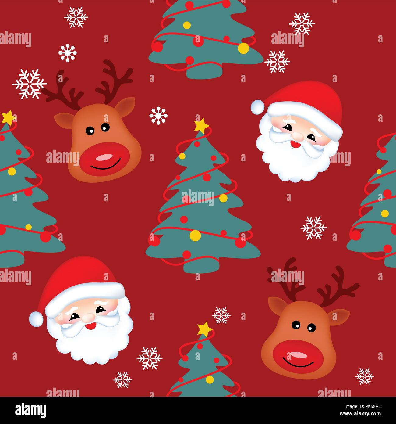 seamless background with santa reindeer and christmas tree for