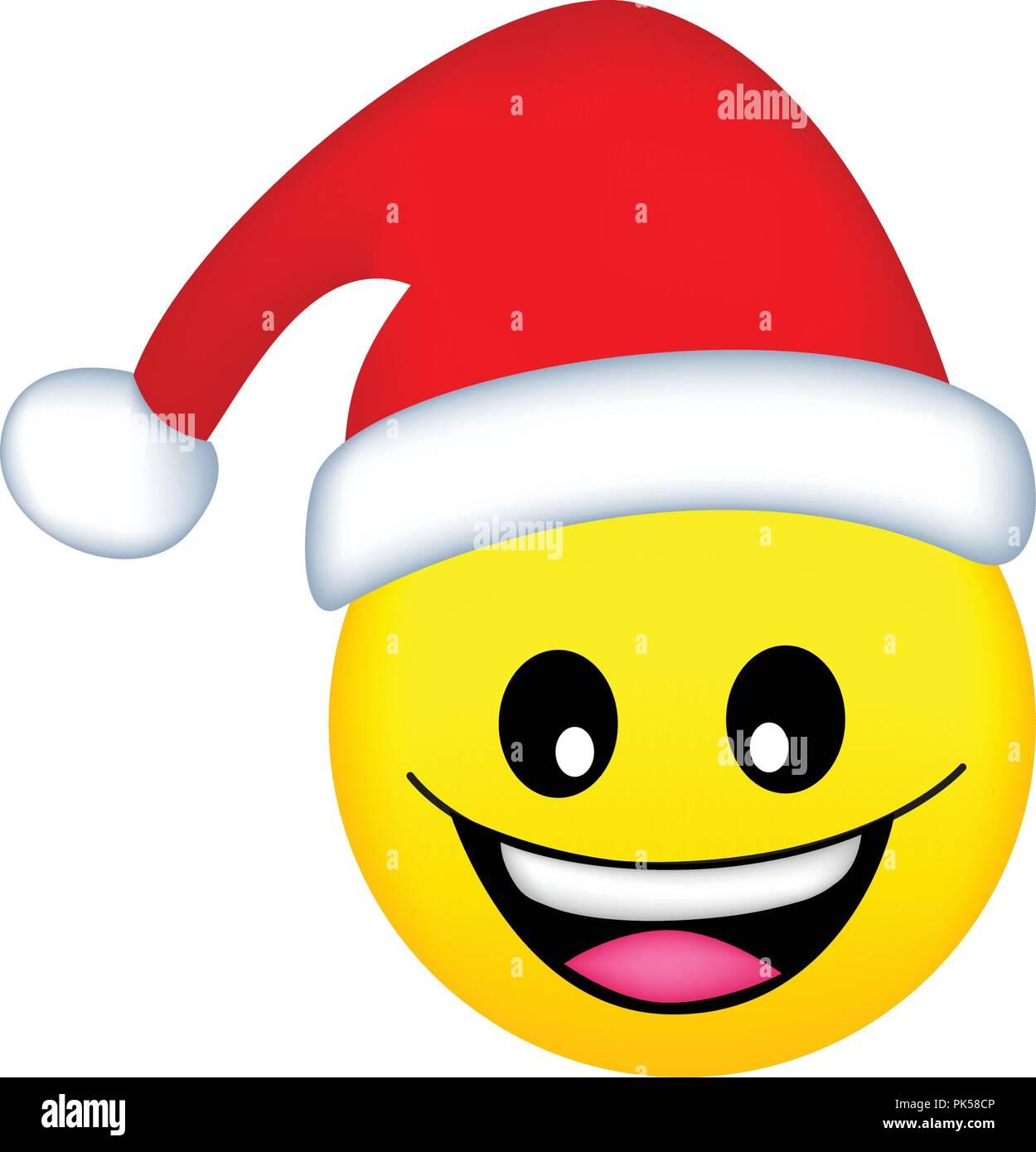 Cute smiley emoticons face vector santa stock vector art illustration vector image - Emoticone kawaii ...