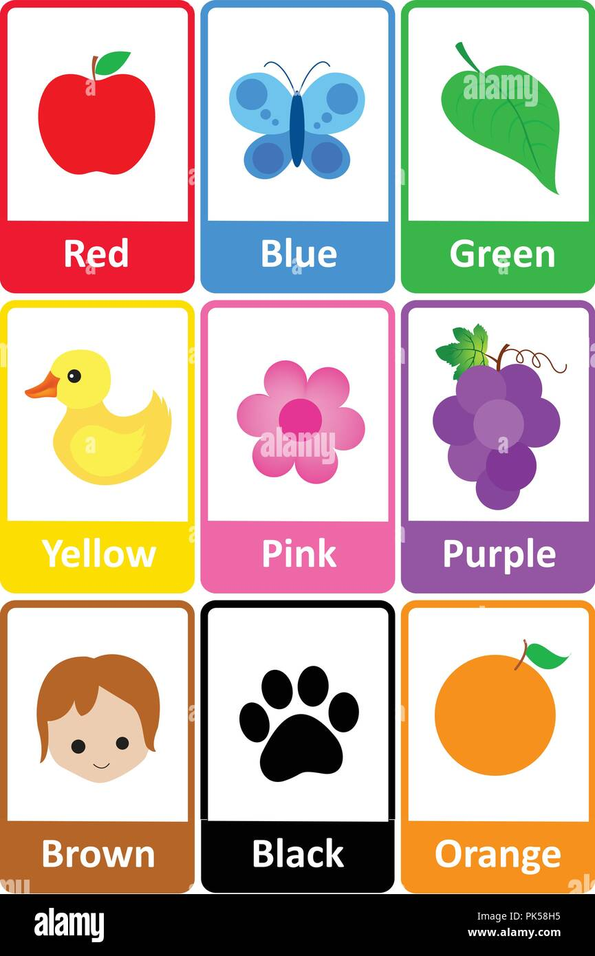 Printable flash card colletion for colors and their names ...