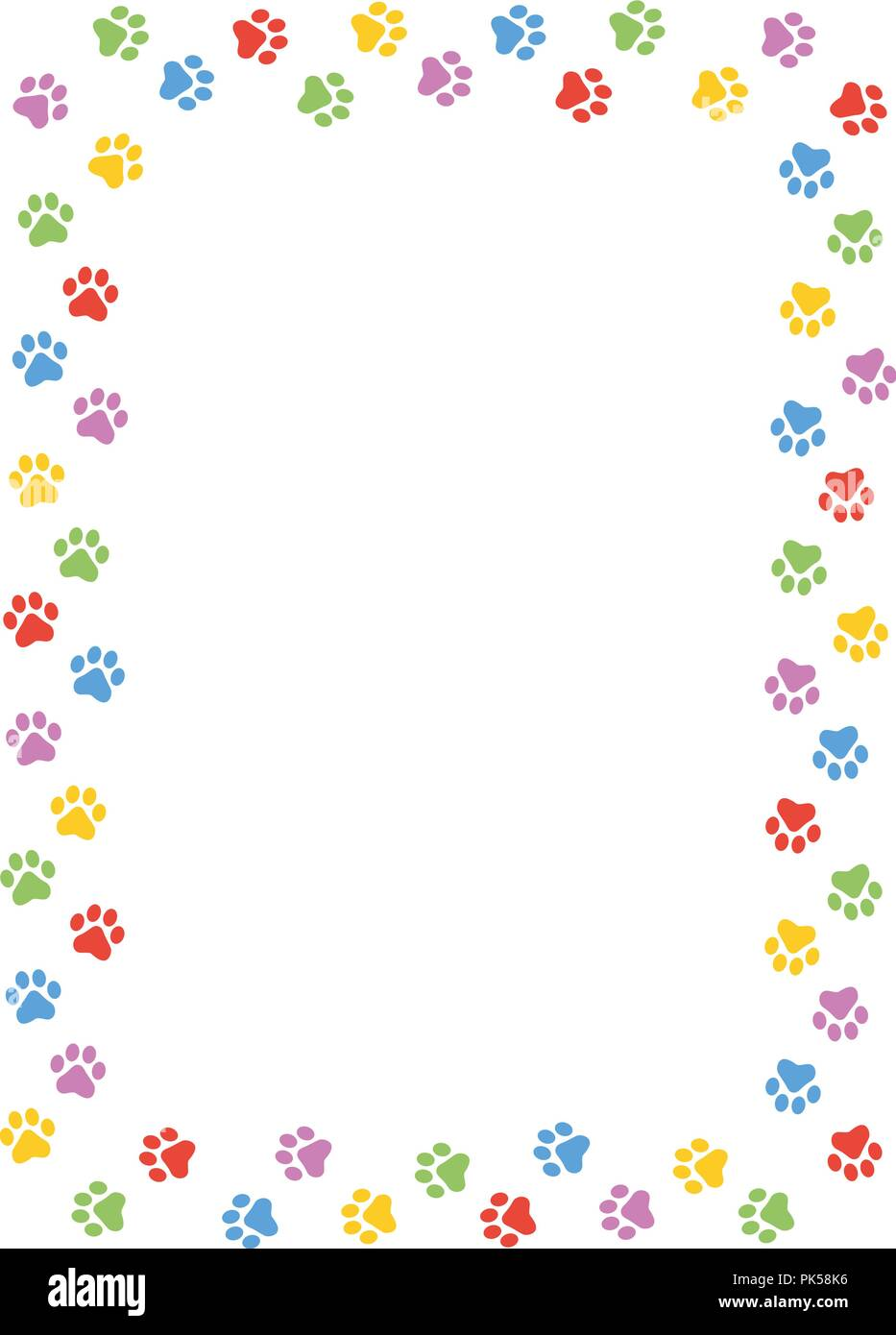 Colorful Dog Paw Print Frame Border On White Background Stock