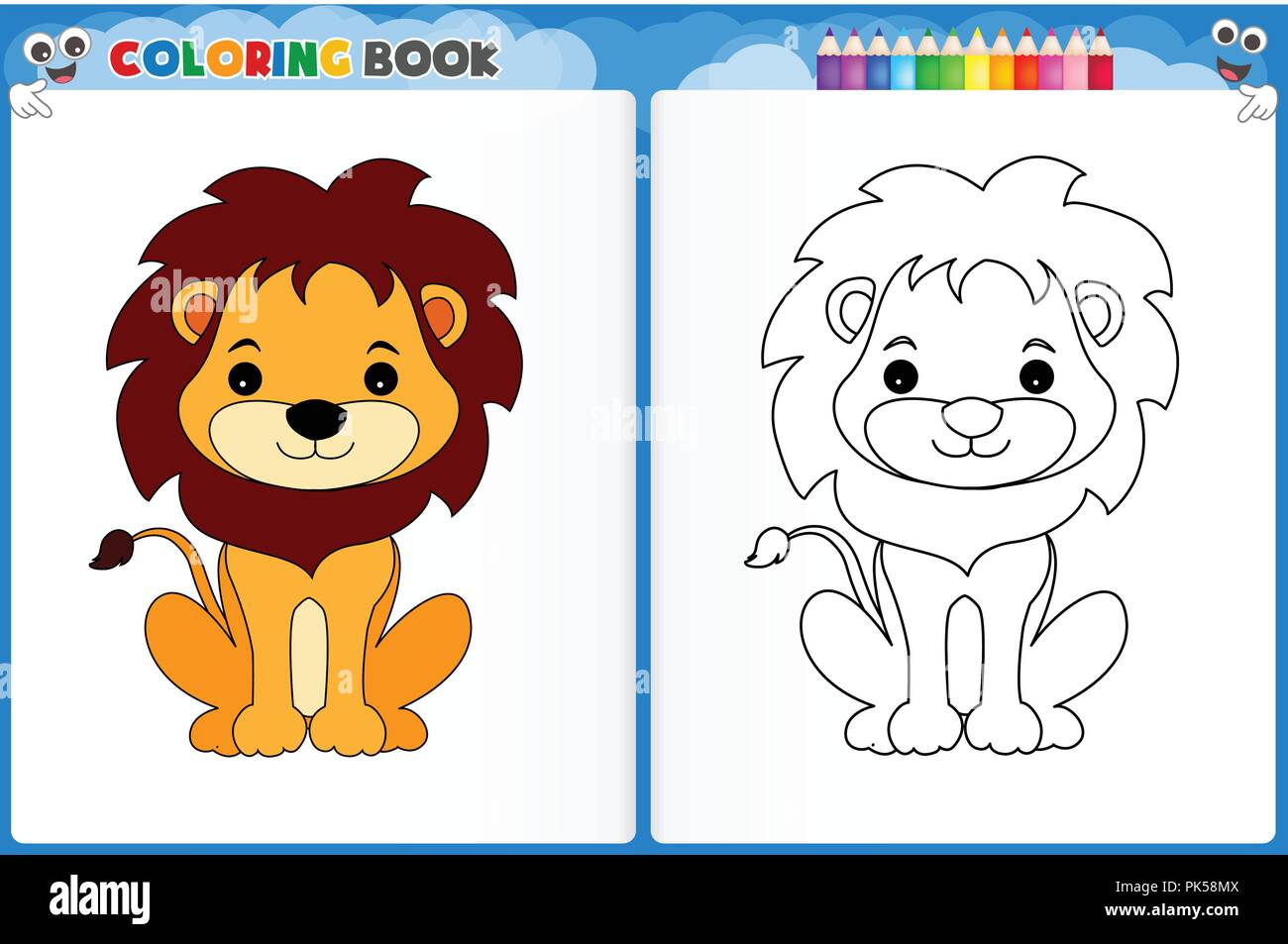 - Coloring Page Cute Lion With Colorful Sample Printable Worksheet